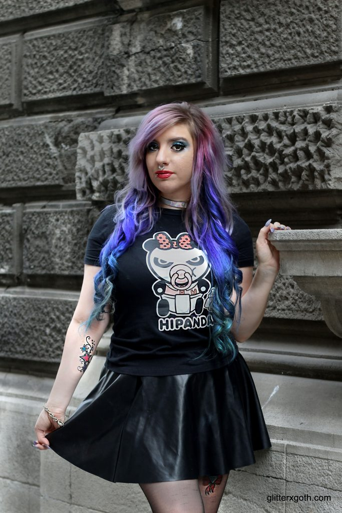 Outfit: Fishnet Bow Socks and Panda Tee